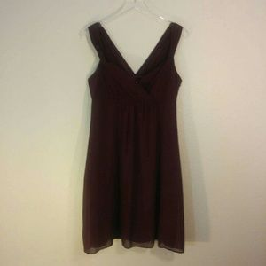 Ann Taylor Size 8 Maroon Silk Empire Waist Dress